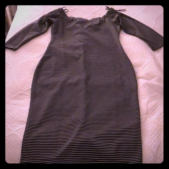 Zara Dresses & Skirts - Black & White Striped Off the Shoulder Midi Dress